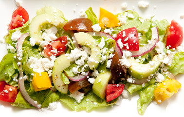 tomato, cucumber and feta salad,olive oil and lemon, greek salad