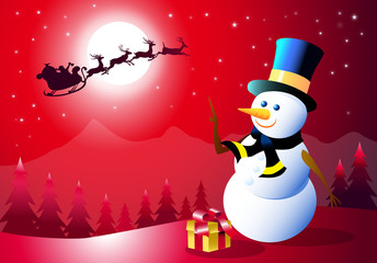 Santa & Snowman at Christmas Night-Vector