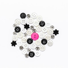 Group of buttons on isolated white background