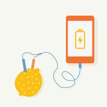 Lemon electric charging Smartphone.