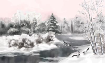 Winter Vector Watercolor Landscape