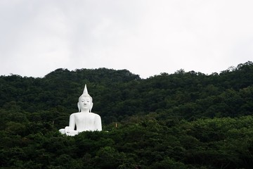 giant white image of Buddha with green mountain 2