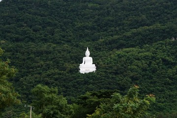 giant white image of Buddha with green mountain 1