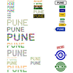 Pune text design set