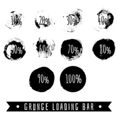 Black grunge development with percentage