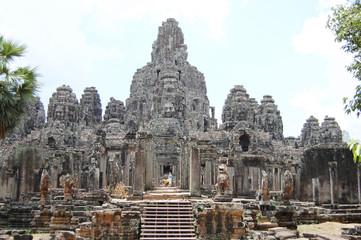 Prasat Bayon Khmer temple at Angkor in Siem Reap Cambodia.