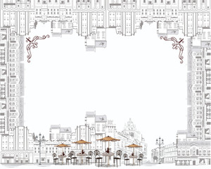 Coffee frame - sketch of old city streets