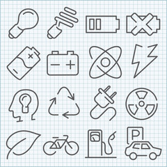 Vector clean icons set for web design and application user inter