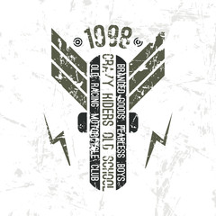 Emblem motorcycle club in retro style
