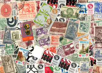 Background of Mexican postage stamps