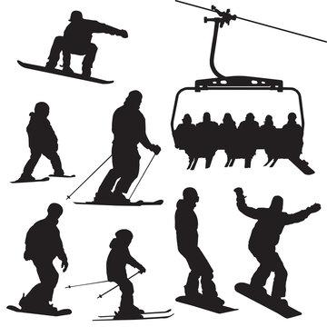 Ski snowboarding people and kids vector illustration set