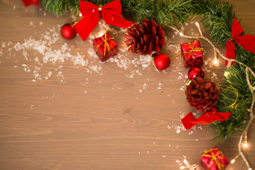 merry christmas deco at wood background