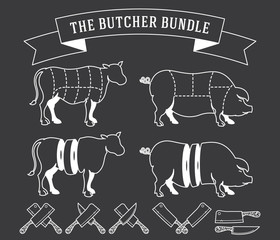The butcher bundle white on black