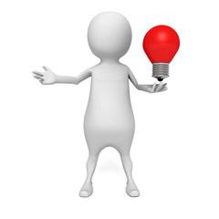 white 3d man with concept idea lightbulb