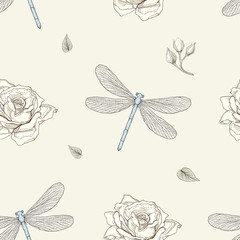 dragonfly and rose seamless pattern