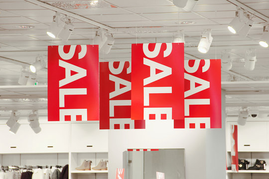 Sale signs in a clothing store