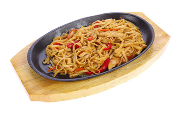 Chinese noodles in a pan