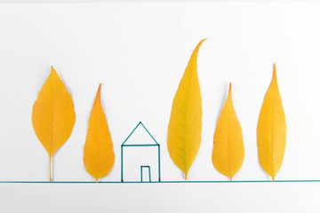 Autumn leaves with painted house isolated on white