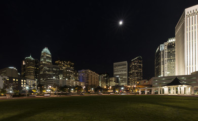 Charlotte, North Carolina city skyline at night