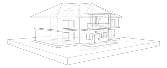 drawing two storey country house