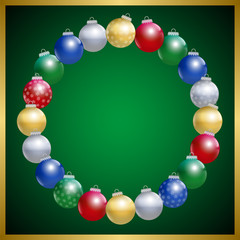 Christmas Tree Balls Circle Frame Green