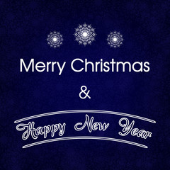 Merry Christmas Blue Card with Snowflakes Vector