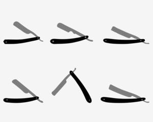 Silhouettes of razors and razor blade, vector