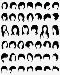 Vector illustration of different hair styling