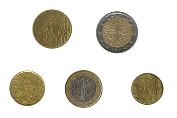 Five french euro coin isolated over white
