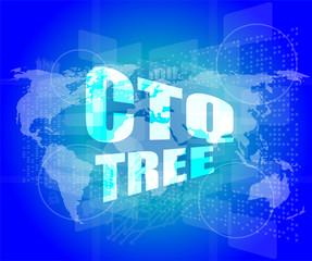 ctq tree word on digital touch screen