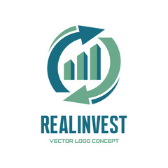 Real Invest - vector logo. Business finance logo.