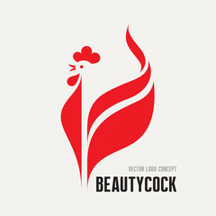 Beauty cock - rooster vector logo. Bird cock illustration.