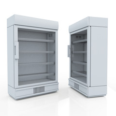 3D white fridge for drink products or beverage in isolated background with work paths, clipping paths included