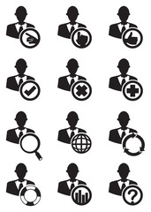 Business Man and Circle Icon Set