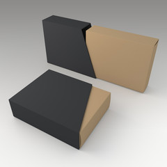 3D black and brown blank box and blank slide trapezoid cover in isolated