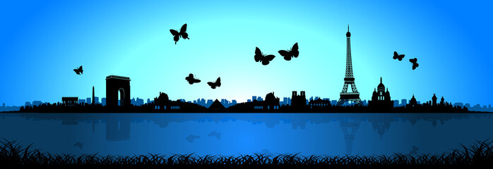 Blue Background Butterfly Paris Skyline Silhouette