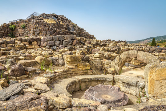 Ruins of nuraghe Su Nuraxi near Barumuni in Sardinia