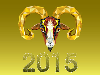 Geometric pattern goat. Vector illustration. Chinese astrologica