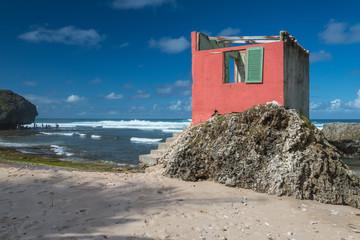 Abandoned house on the beach at Bathsheba, Barbados