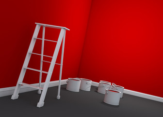 3d red wall painting, ladder, paint cans