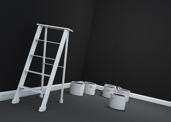 3d dark wall painting, ladder, paint cans