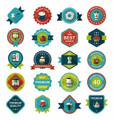 coffee badge design flat background set, eps10