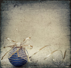 Blue christmass ball and ribbon