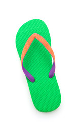 Green flip flop isolated on white background