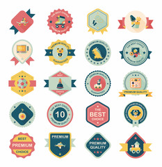 Toy badge banner design flat background set, eps10