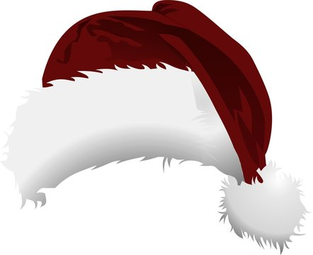 Fluffy Santa Hat in white and red Color