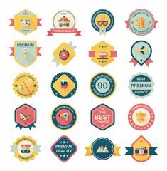 Travel badge banner design flat background set, eps10
