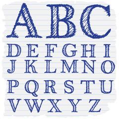Hand drawn decorative english alphabet letters