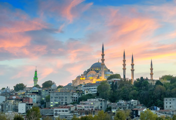Beautiful view of Istanbul Mosque at dusk