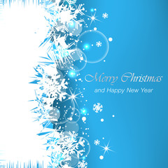 Christmas greeting card with snowflakes for happy holiday